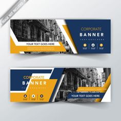 Blue and yellow back and front banner template Banner Design Inspiration, Web Banner Design, Brochure Design, Flyer Design, Powerpoint Design Templates, Templates Free, Standing Banner Design, Fb Banner, Facebook Cover Design