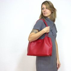 Red Leather Shoulder Bag, Soft Leather Tote Bag, Large Genuine Leather Shopper, Red Slouchy Purse #red #leather #tote #bag #fashion #style #gift #accessories Soft Leather, Red Leather, Leather Bag, Large Bags, My Bags, Italian Leather, Leather Shoulder Bag, Casual Outfits, Tote Bag