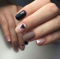 Minimal nail art with nude, black and white polish.  ##nailart