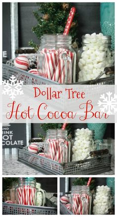 How to make a hot cocoa bar from Dollar Tree items! You don't have to be ext… How to make a hot cocoa bar from Dollar Tree items! You don't have to be extravagant to have a beautiful little set up on the cheap! Check it out! Fun Christmas Party Ideas, Decoration Christmas, Christmas Brunch, Christmas Goodies, Christmas Treats, Holiday Parties, Christmas Holidays, Christmas Dinner Ideas Family, Winter Parties