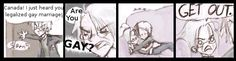 Hetalia - Mpreg11 by AwesomelyLameComics.deviantart.com on @deviantART       AMERICA:What are u GAY!?      CANADA:GET OUT!!!!
