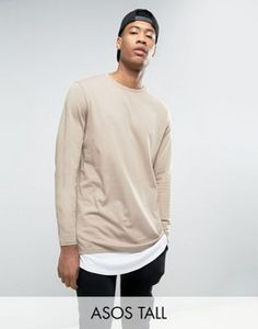 ASOS TALL Super Longline Long Sleeve T-Shirt With Double Layer Curved Hem In Beige/White