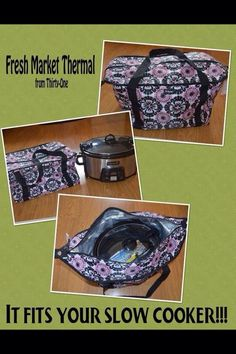 Thirty One Fresh Market Thermal fits your slow cooker!!   This is a great thermal for hot or cold items!  Use it when you go shopping in the grocery store or tailgating.  So many uses!  Contact me today to order yours or to set up a party (even an online party) so you can earn free and half price items!  To order: https://www.mythirtyone.com/402994