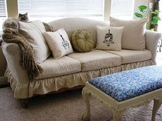 slipcover tutorial on old victorian settee... a drop cloth. . .hmmm