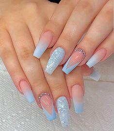Blue Glitter Nails, Blue Acrylic Nails, Yellow Nail, Pastel Nail, Purple Nail, Ombre Nail, Gold Nail, Nail Nail, Pointy Nails