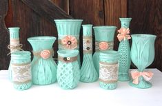 A group of 10 glass vases, jars and/or bottles are painted in this soft, minty green color. They are then embellished with burlap, lace, twine,