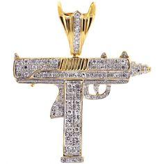 Mens Diamond UZI Gun Pendant 10K Yellow Gold 0.78 ct