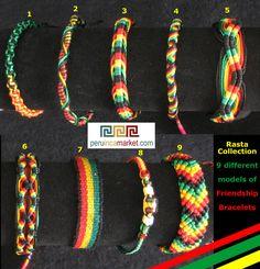 1000 Rasta Friendship Bracelets 9 Different Styles Mix Jamaica Bob ...