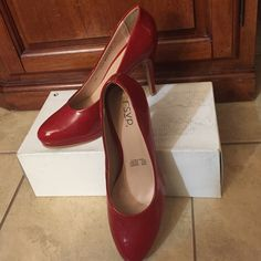 """Red RSVP heels Brand new never worn.  4"""" Heel red pat tent leather. Nine West Shoes Platforms"""