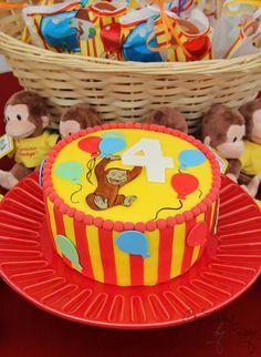 TORTA DE JORGE EL CURIOSO 4th Birthday Cakes, Mickey Birthday, Baby Boy Birthday, First Birthday Parties, First Birthdays, Birthday Ideas, Curious George Cakes, Curious George Party, Curious George Birthday