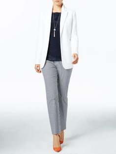The Gingham pants look perfect with this classic outfit. Add a navy or nude shoe to keep it office appropriate.