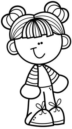 Cartoon Drawings, Drawing Sketches, Art Drawings, Back To School Crafts, Daycare Crafts, Stick Figure Drawing, Clipart Black And White, Coloring Book Pages, Cartoon Kids