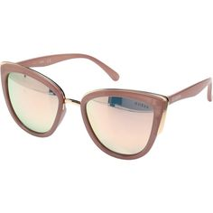 GUESS GF0313 (Milky Blush/Rose Gold Mirror Lens) Fashion Sunglasses (145 ILS) ❤ liked on Polyvore featuring accessories, eyewear, sunglasses, pink, guess sunglasses, pink sunglasses, mirror lens sunglasses, pink lens sunglasses and rose gold sunglasses