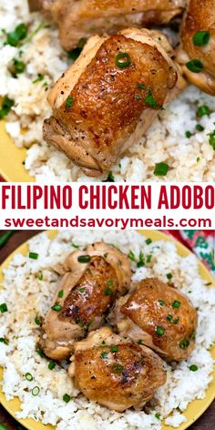 Filipino Chicken Adobo is a savory Asian dish marinated in vinegar, soy sauce, and spices. #chickenrecipes #chickenadobo #sweetandsavorymeals #chicken #filipinorecipes