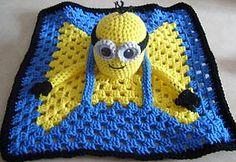 Minion Inspired Lovey Blankie by Knotty Hooker Designs