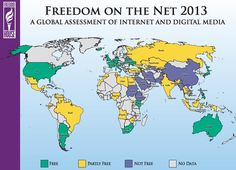 A Map of Internet Freedom Around the World In the US, it's easy to slip into the comfortable idea that the internet is unrestricted, a home for free speech and exploration. Technology Gifts, Educational Technology, Freedom Of The Press, Digital Revolution, Interactive Map, Data Science, Cartography, Cards, World Maps