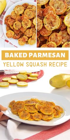 A new favorite, healthy spring recipe you can easily make with just 2 ingredients! This Baked Parmesan Yellow Squash Recipe is an addictive treat your family will love. Its the best side dish to complement your spring season food! Save this and try it! Easy Yellow Squash Recipes, Summer Squash Recipes, Eggplant Recipes, Yellow Squash Relish Recipe, Canning Yellow Squash, Freezing Yellow Squash, Fried Yellow Squash, Baked Summer Squash, Roasted Yellow Squash