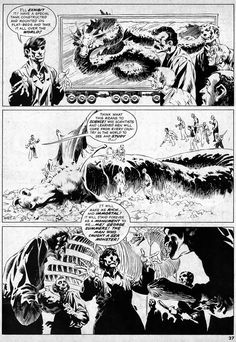 """Diversions of the Groovy Kind: Black and White Wednesday: """"The Pepper Lake Monster"""" by Berni Wrightson"""