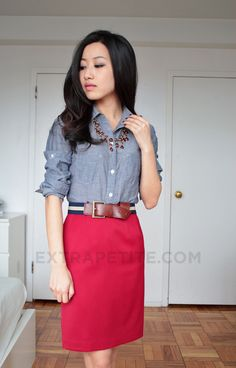 Red pencil skirt + chambray + blue/white/tan belt