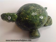 Hand Painted Rock Art - Green Turtle with a smile DKP008 – Tamm's Marketplace