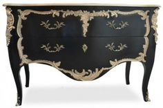 Louis XV Commode - Black – Fabulous and Baroque Furniture Logo, Black Furniture, Steel Furniture, French Furniture, Shabby Chic Furniture, Cheap Furniture, Discount Furniture, Painted Furniture, Purple Desk