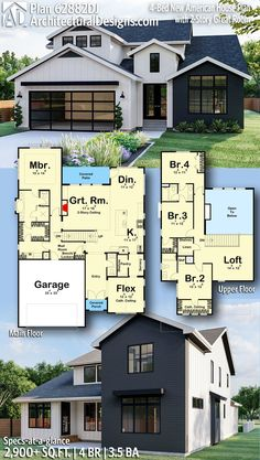 New American Farmhouse Plan 62882DJ gives you 2,900  square feet of living space with 4 bedrooms and 3.5 baths. AD House Plan #62882DJ #adhouseplans #architecturaldesigns #houseplans #homeplans #floorplans #homeplan #floorplan #floorplans #houseplan #modernfarmhouse #farmhouseplan #newamericanstyle Sims House Plans, New House Plans, Modern House Plans, Small House Plans, Modern House Design, House Floor Plans, Modern Houses, House Plan Two Story, Layouts Casa