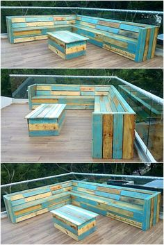 100 Pallet Sofa or Couch DIY Ideas for Outdoor and Patio: These DIY pallet projects will make your patio full with the beauty of nature and well-formed in Diy Pallet Couch, Pallet Patio Furniture, Outside Furniture, Diy Couch, Wood Patio, Diy Patio, Outdoor Furniture Sets, Couch Set, Furniture Ideas