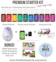 Young Living Premium Starter Kit!  11 Oils, Diffuser, plus a FREE Reference Guide and Support when you enroll at www.thewelloiledlife.com/enroll!