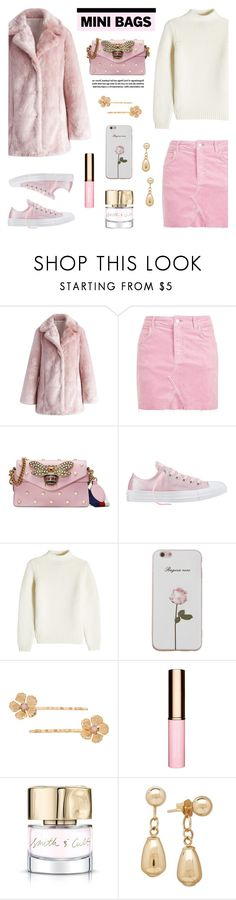 """""""So Cute: Mini Bags"""" by lgb321 ❤ liked on Polyvore featuring Chicwish, Topshop, Gucci, Converse, A.P.C., LC Lauren Conrad, Clarins, Smith & Cult, Pink and gucci"""