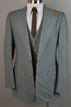 Vintage Fioravanti Men's Green 100% Fleck Tweed Wool 3 Piece Vest Suit (42L)