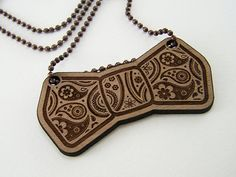 Wood paisley bow tie necklace on Etsy