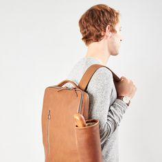 The Saola Tech Backpack: with an optional detachable pouch to make your modern life easier. Rucksack Backpack, Laptop Backpack, Luggage Straps, Bag Organization, Modern Man, School Bags, Tan Leather, Monogram, Tech