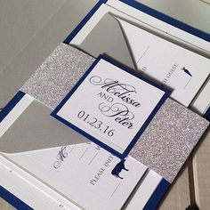 Glitter Wedding Invitations Navy and by InspirationIDoDesign