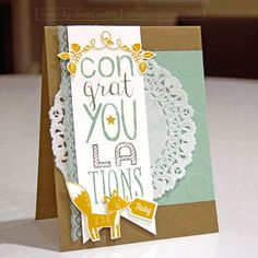 Thankful Forest Friends, Bravo, Stake Your Claim stamp sets - Stampin' Up!. Fox baby card.