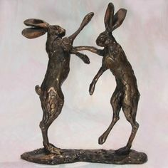 Sydney Charles Studio - Bronze Sculpture - Boxing Hares Title: Boxing Hares Medium: Solid Bronze Size: 10cm Artist: Paul Jenkins Edition: Open