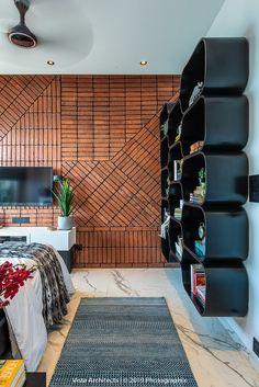 A brick clad modern bedroom design idea by Vista Architects. Brick Interior, Best Interior Design, Modern Bedroom Design, Modern Decor, Bedroom Designs, Brick Cladding, Indian Interiors, Brick Design, Home Decor Bedroom
