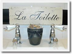 Bathroom French Inspired Hand Painted Wooden Door by harrietbeeby, $40.00