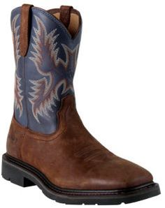 Ariat Sierra Men's Brown Russet w/ Blue Top Square Toe Pull On Western Work Boots | Cavender's - For Jason