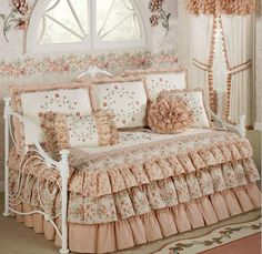 Daybed bedding sets sears video and photos with sears bedding for bedroom ideas Daybed Cover Sets, Daybed Sets, Girl Bedroom Designs, Girls Bedroom, Bedroom Ideas, White Bedroom, Daybed Comforter Sets, Ruffle Comforter, King Comforter