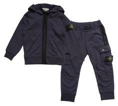 Boys Navy Blue Cotton Jersey Tracksuit 228.00 £ - Stone Island Junior