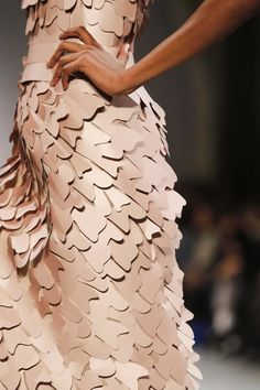 Amazing Textures - dress with layered shapes & dimensional surface texture; fashion details // Georges Chakra Haute Couture