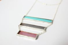 Teal, Grey, & Purple glass with nickle-free, sterling silver chain in a…