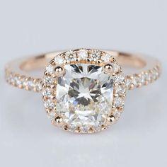Halo Cushion Diamond Engagement Ring in Rose Gold (2.01 ct.) | Image 01