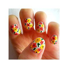 I love these nails! I think cute nail designs are a must for any outfit. They don't always have to be crazy or super elaborate, but you should at least have a good solid color. Nails can be a great accessory and when done right can really complete a look. Spring Nail Art, Spring Nails, Summer Nails, Cute Nails, Pretty Nails, Gorgeous Nails, Hair And Nails, My Nails, Floral Nail Art