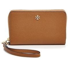 Tory Burch Robinson Zip Around Smartphone Wristlet ($190) ❤ liked on Polyvore featuring bags, handbags, clutches, wallet, plastic purses, tory burch, plastic handbags, brown purse and brown handbags