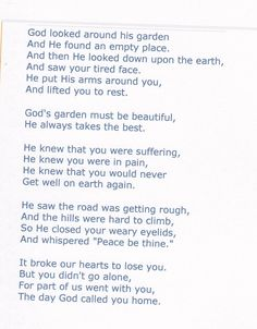 Missing Mom... This is actually the poem I picked to have on my mom's prayer card