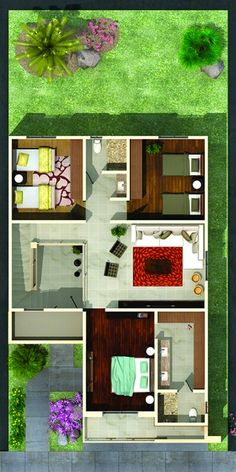 Pinterest: @claudiagabg | Casa 2 pisos 3 cuartos / planta 2