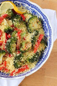 couscous au brocolis et poivrons rôtis épicés au citron (vegan) -- Spicy roasted red pepper and broccoli couscous