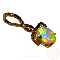 Opal Pendant in 14k Gold.  Very bright stone.