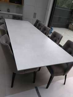 Extendable version of our Xenon dining table with Hydra Argen ceramic top and Moka frame. FLORIDA dining chairs in Plush Velvet Elephant and Moka legs. Delivered to our client in Beckenham. Dining Chairs, Dining Table, Leather Bed, Moka, Sofa Design, Modern Bedroom, Contemporary Furniture, Sideboard, Plush